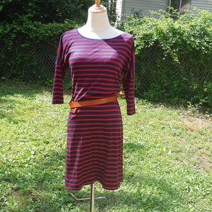 Navy/Red Striped T-shirt Dress